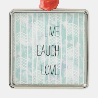 Blue and Pink Tribal Leaf Pattern live laugh love Silver-Colored Square Decoration