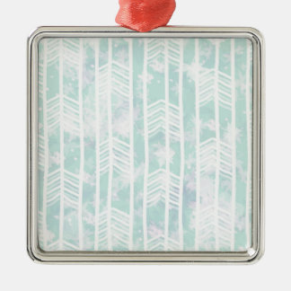 Blue and Pink Tribal Leaf Pattern Silver-Colored Square Decoration