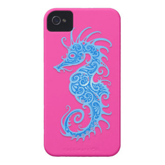 Blue and Pink Tribal Seahorse iPhone 4 Case