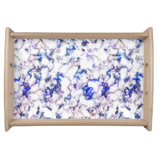 Blue and Pink Veined Marble Serving Tray