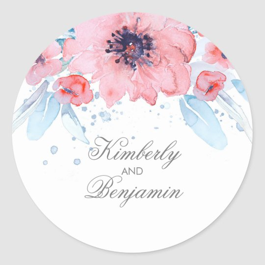 Blue and Pink Watercolor Flowers Elegant Wedding Classic