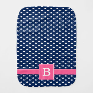 Blue and Pink Whimsical Whales Pattern Monogram Burp Cloth