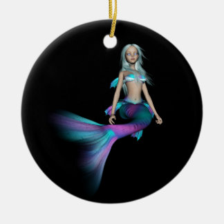 Blue and purple 3D mermaid 4 Christmas Ornament