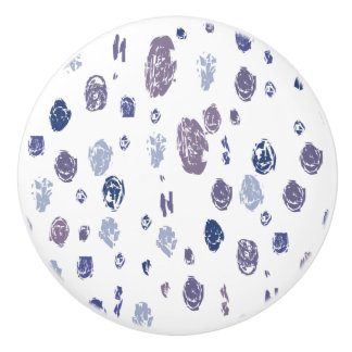 Blue and Purple Abstract Raindrops Ceramic Knob