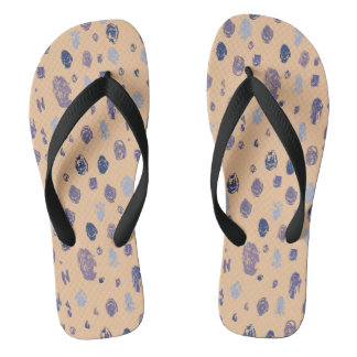 Blue and Purple Abstract Raindrops Flip Flops