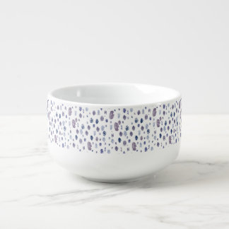 Blue and Purple Abstract Raindrops Soup Mug
