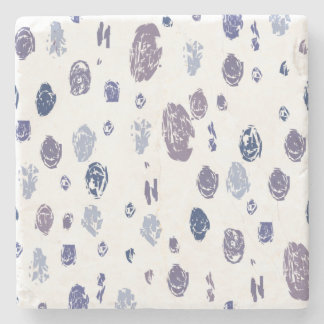 Blue and Purple Abstract Raindrops Stone Coaster