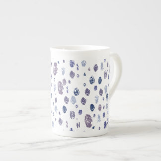 Blue and Purple Abstract Raindrops Tea Cup