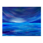 Blue and Purple Abstract Seascape Postcard