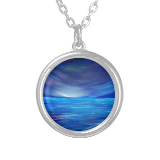 Blue and Purple Abstract Seascape Silver Plated Necklace