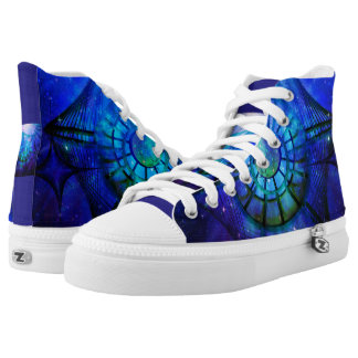 Blue and Purple abstract space High Tops
