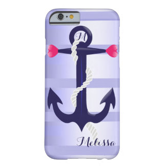 Blue and purple| Anchor and hearts Barely There iPhone 6 Case