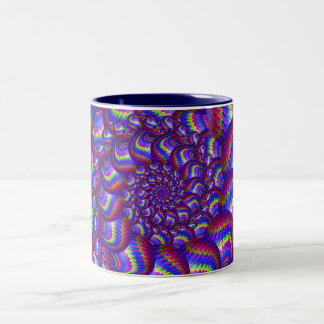 Blue and Purple Balls Fractal Pattern Two-Tone Coffee Mug