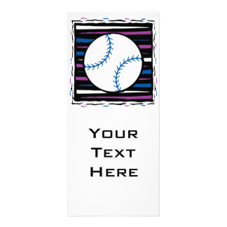 blue and purple baseball design personalised rack card