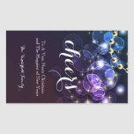 Blue and Purple Bubble Christmas Wine Bottle Label Stickers