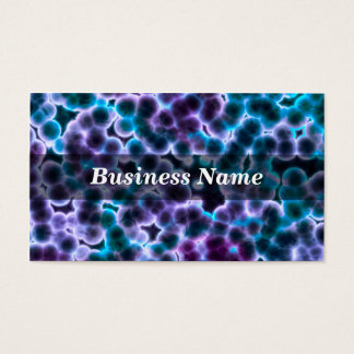 Blue and Purple Cells on Black Background Business Card