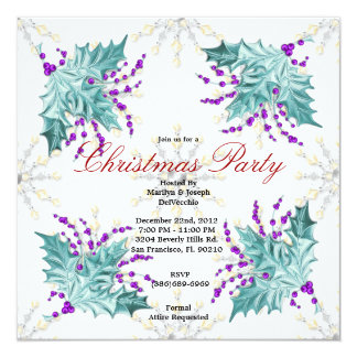 Blue and Purple Christmas Mistletoe Holiday Party  13 Cm X 13 Cm Square Invitation Card