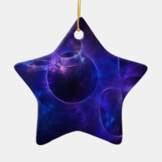 Blue and Purple Circles 1 Ceramic Star Decoration
