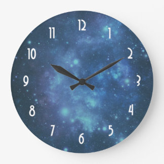 Blue and Purple Cosmic Space Image Wall Clock