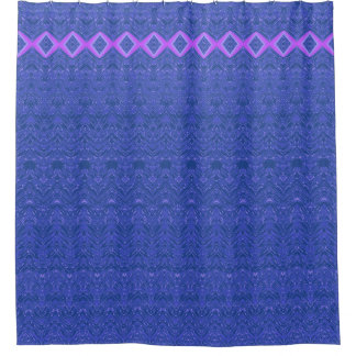 Blue and Purple Diamonds Abstract Damask Pattern Shower Curtain