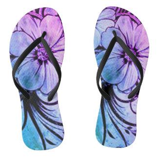 Blue and Purple Floral Flip Flops
