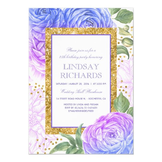 Blue and Purple Floral Gold Confetti Birthday Card