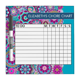 Blue and Purple Floral Pattern Chore Chart Dry Erase Board