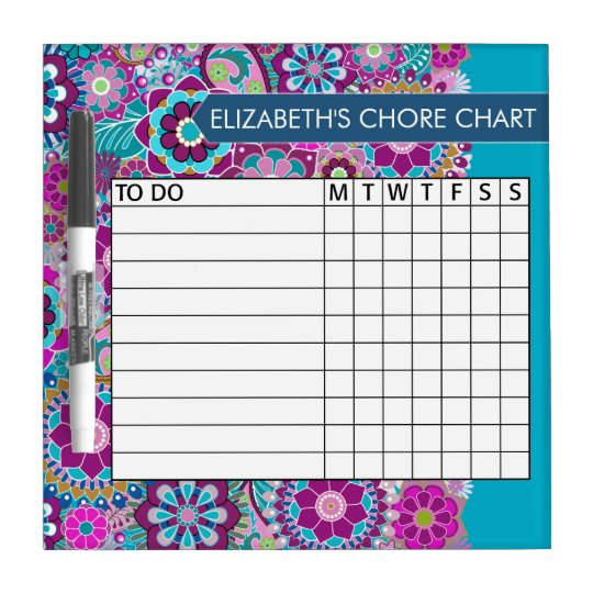 Blue and Purple Floral Pattern Chore Chart Dry