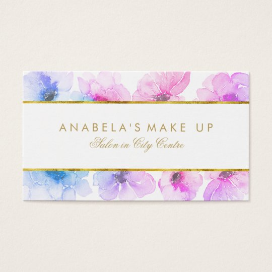 Blue and Purple Floral Watercolors Elegant Beauty Business