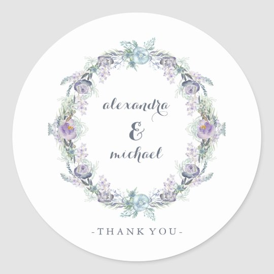 Blue and Purple Floral Wreath Wedding Thank You