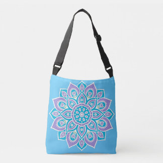 Blue and Purple Flower Crossbody Bag