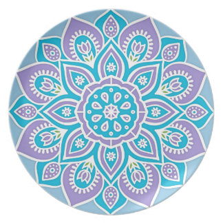 Blue and Purple Flower Melamine Plate