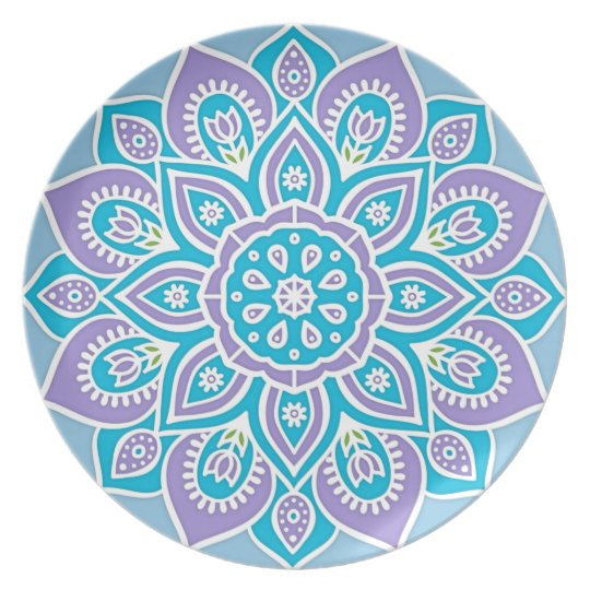 Blue and Purple Flower Melamine Plate