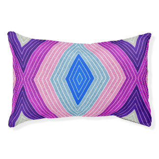 Blue and Purple Geometric Pattern Pet Bed