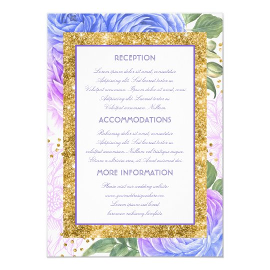 Blue and Purple Gold Glitter Wedding Information Card