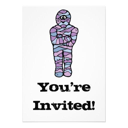 blue and purple goofy mummy personalized invitation