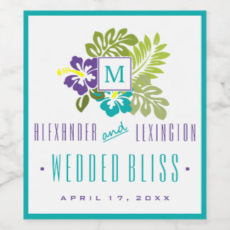 Blue and Purple Hibiscus Monogrammed Wedding Wine Label
