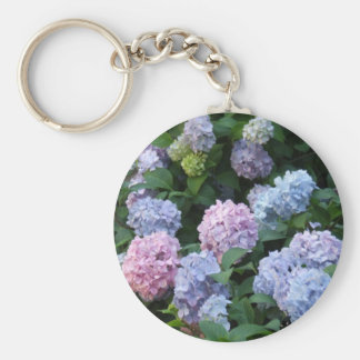 Blue and Purple Hydrangea Basic Round Button Key Ring