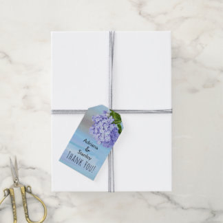 Blue and purple hydrangea floral wedding Thank You