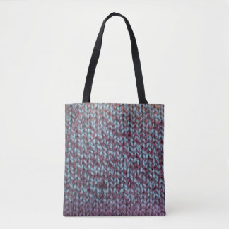 Blue and Purple Knit Tote Bag