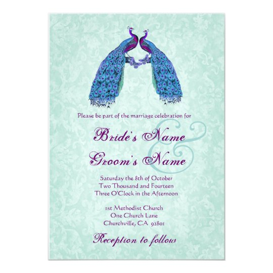 Blue and Purple Lovebird Peacocks Wedding Card