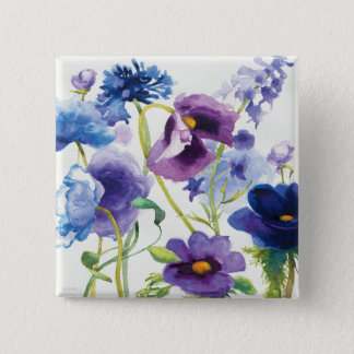 Blue and Purple Mixed Garden 15 Cm Square Badge