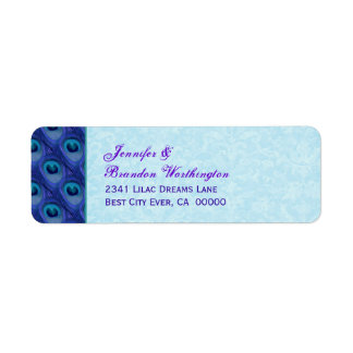 Blue and Purple Peacock Feathers Return Address Label