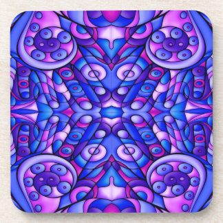 Blue And Purple Psychedelic Swirls Coaster
