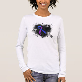 Blue and Purple Ribbon Grunge Heart Long Sleeve T-Shirt