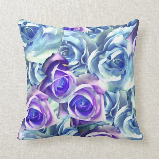 Blue And Lavender Throw Pillows : Blue And Purple Roses Cushion Throw Pillow Zazzle