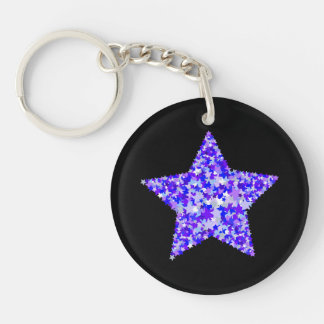 Blue and Purple Star of Stars Key Chains