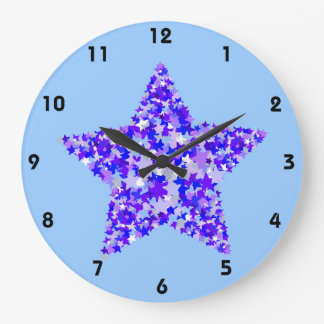 Blue and Purple Star of Stars Large Clock