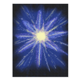 Blue and purple starburst abstract art postcard