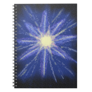 Blue and purple starburst abstract art spiral note book